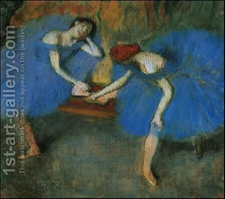 Two Dancers at Rest or, Dancers in Blue, c.1898 by Edgar Degas - Reproduction Oil Painting