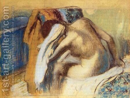 Woman Drying her Hair after the Bath by Edgar Degas - Reproduction Oil Painting