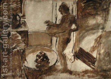 Woman Drying Herself, c.1884-86 by Edgar Degas - Reproduction Oil Painting