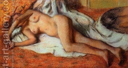 After the Bath or, Reclining Nude, c.1885 by Edgar Degas - Reproduction Oil Painting