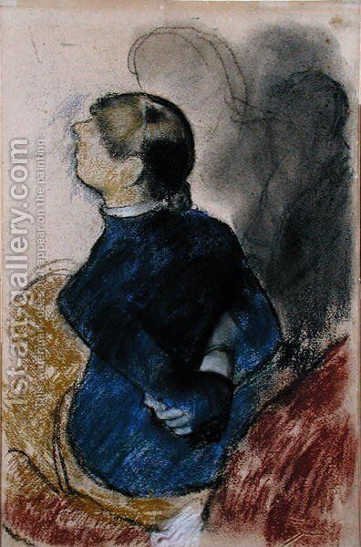 Young Woman in Blue, c.1884 by Edgar Degas - Reproduction Oil Painting