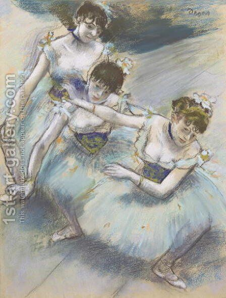 Three Dancers in a Diagonal Line on the Stage, c.1882 by Edgar Degas - Reproduction Oil Painting