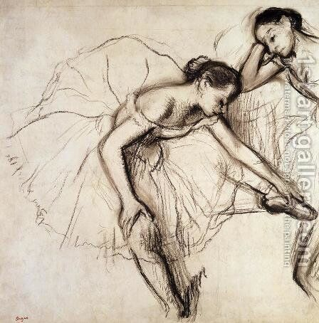 Two Dancers Resting by Edgar Degas - Reproduction Oil Painting