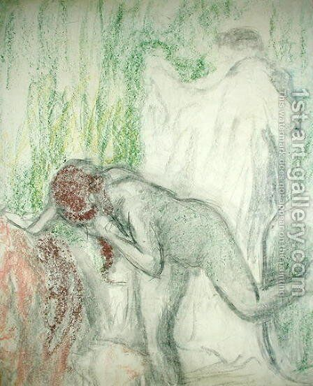 Nude getting out of the Bath by Edgar Degas - Reproduction Oil Painting