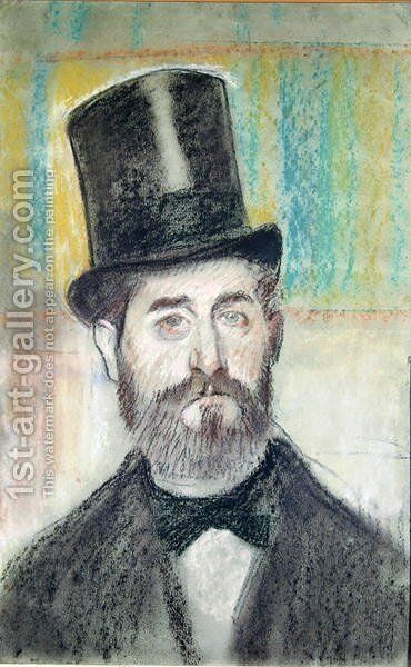 Man in an Opera Hat by Edgar Degas - Reproduction Oil Painting