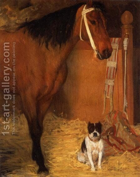 At the Stable, Horse and Dog, c.1862 by Edgar Degas - Reproduction Oil Painting