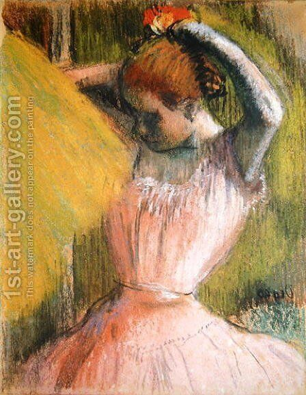 Dancer arranging her hair, c.1900-12 by Edgar Degas - Reproduction Oil Painting