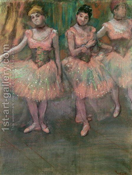 Dancers wearing salmon coloured skirts by Edgar Degas - Reproduction Oil Painting