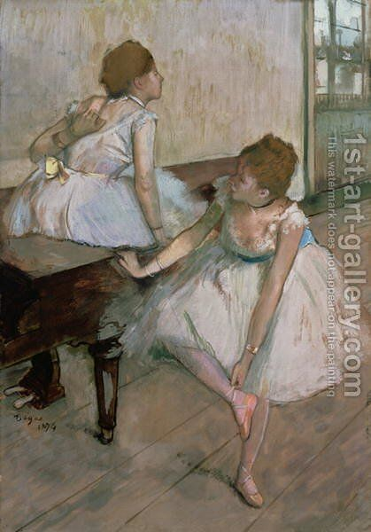 Two dancers resting, 1874 by Edgar Degas - Reproduction Oil Painting