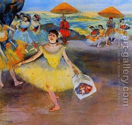 Dancer with bouquet, curtseying, 1877 by Edgar Degas - Reproduction Oil Painting