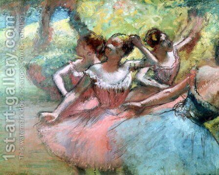 Four ballerinas on the stage by Edgar Degas - Reproduction Oil Painting