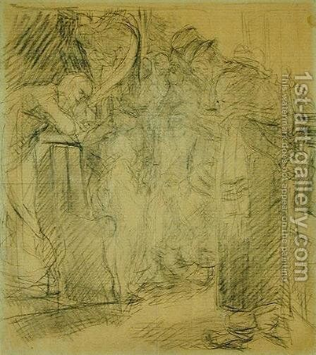 Composition sketch for Christ in the Temple by Max Liebermann - Reproduction Oil Painting