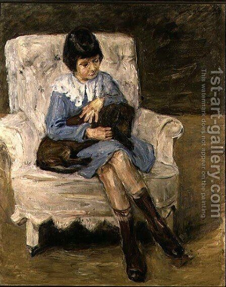 Maria Riezler-White (1917-95), grandaughter of the artist, with dachshund on her knee, 1925 by Max Liebermann - Reproduction Oil Painting