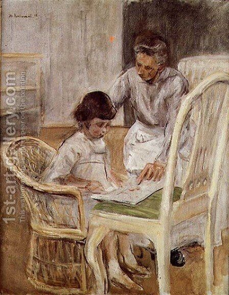 Portrait of the Artist's Grand-daughter with Her Nurse, 1919 by Max Liebermann - Reproduction Oil Painting