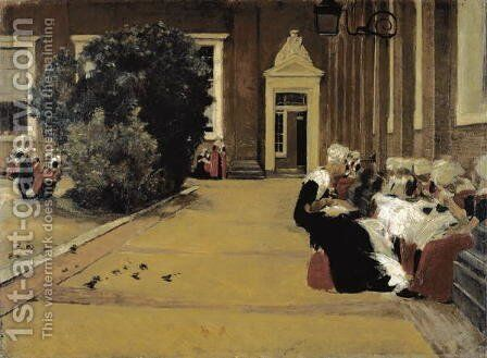Courtyard of the orphanage in Amsterdam, 1876 by Max Liebermann - Reproduction Oil Painting