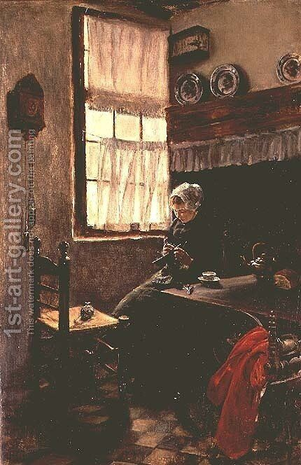 A young woman knitting in an interior by Max Liebermann - Reproduction Oil Painting