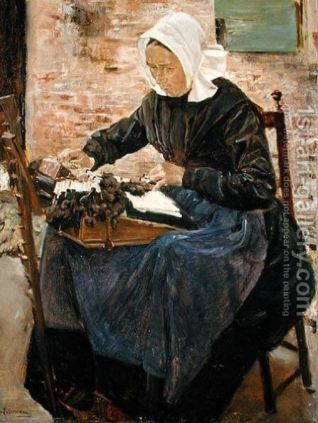 A Dutch Lace-Maker, 1881 by Max Liebermann - Reproduction Oil Painting