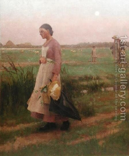 Hop Pickers Returning, 1883 by Alexander Mann - Reproduction Oil Painting
