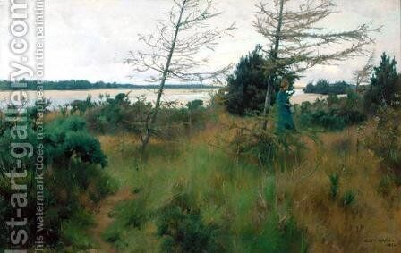 By the Findhorn, Aberdeenshire, 1885 by Alexander Mann - Reproduction Oil Painting