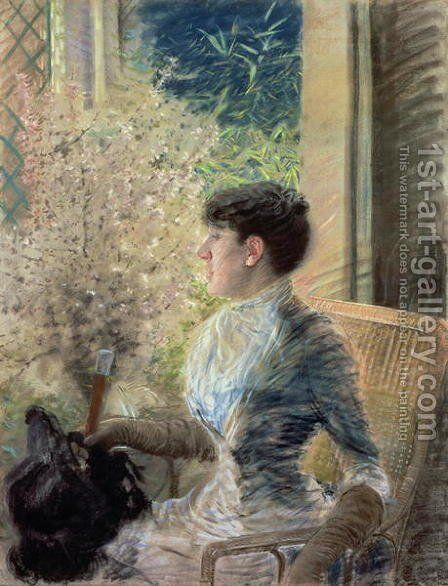 Bow Window, 1883 by Giuseppe de Nittis - Reproduction Oil Painting