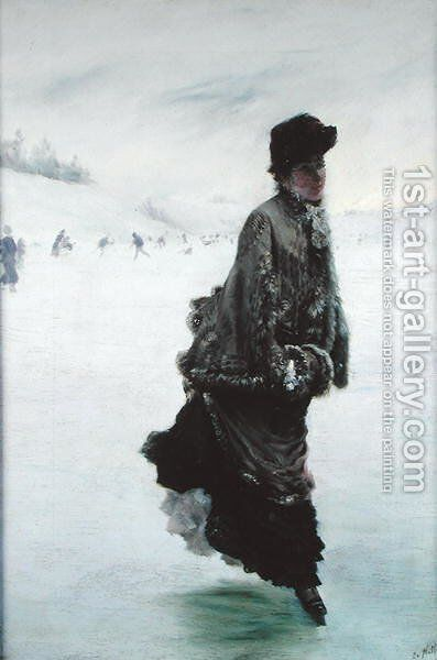 The Skater by Giuseppe de Nittis - Reproduction Oil Painting