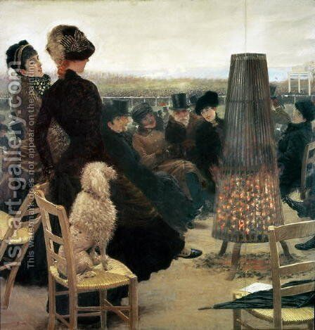 The Races at Auteuil, part of a triptych by Giuseppe de Nittis - Reproduction Oil Painting