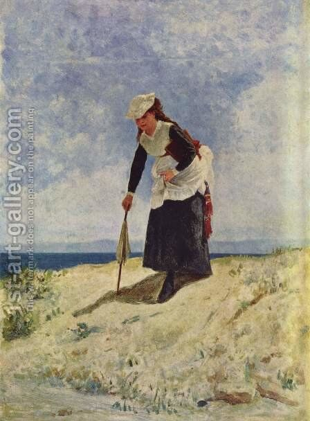 Woman on the Beach by Giuseppe de Nittis - Reproduction Oil Painting