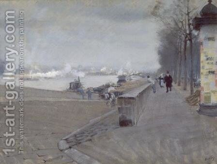 The Seine at Paris by Giuseppe de Nittis - Reproduction Oil Painting