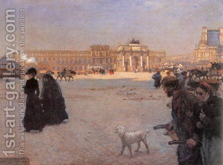 La Place du Carrousel, Paris- The Ruins of the Tuileries, 1882 by Giuseppe de Nittis - Reproduction Oil Painting