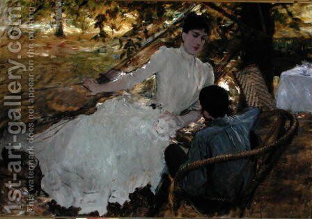 In the Hammock II, 1884 by Giuseppe de Nittis - Reproduction Oil Painting