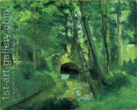 The Little Bridge, Pontoise, 1875 by Camille Pissarro - Reproduction Oil Painting