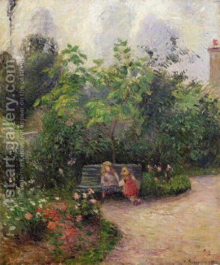 A Corner of the Garden at the Hermitage, Pontoise, 1877 by Camille Pissarro - Reproduction Oil Painting