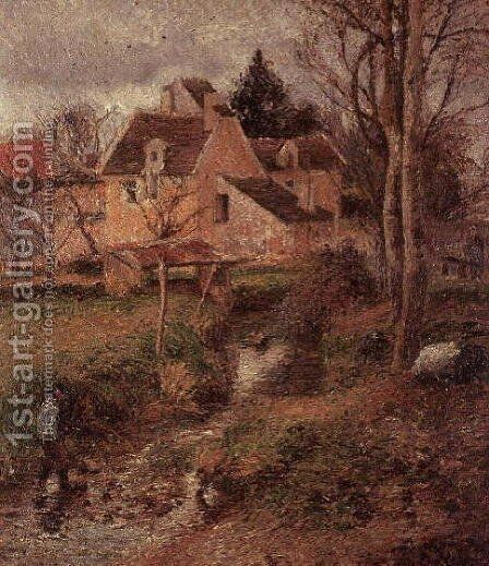 The Stream at Osny, 1883 by Camille Pissarro - Reproduction Oil Painting