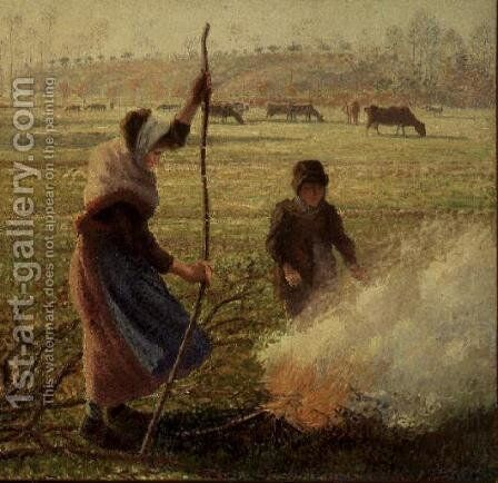 White Frost, woman breaking wood, 1890 by Camille Pissarro - Reproduction Oil Painting