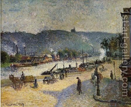 The Quays at Rouen, 1883 by Camille Pissarro - Reproduction Oil Painting