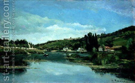 The Marne at Chennevieres, c.1864-65 by Camille Pissarro - Reproduction Oil Painting