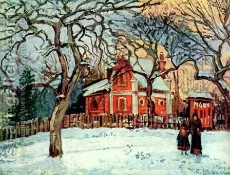 Chestnut Trees at Louveciennes, c.1871-2 by Camille Pissarro - Reproduction Oil Painting