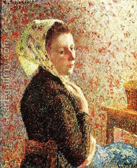 Woman wearing a green headscarf, 1893 by Camille Pissarro - Reproduction Oil Painting