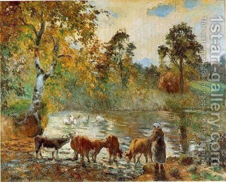 The Pond at Montfoucault, 1875 by Camille Pissarro - Reproduction Oil Painting