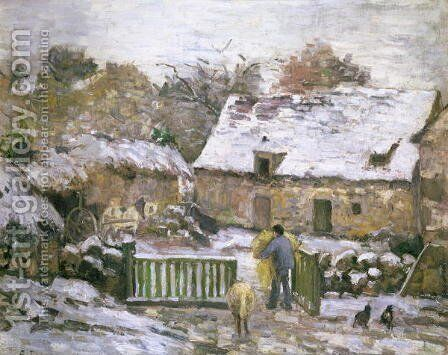 A Farm at Montfoucault- Effect of Snow, 1876 by Camille Pissarro - Reproduction Oil Painting