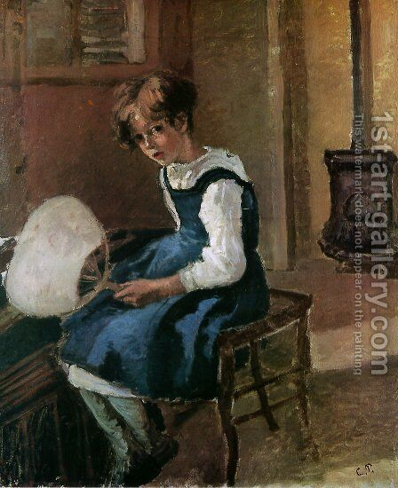 Portrait of Jeanne Holding a Fan by Camille Pissarro - Reproduction Oil Painting