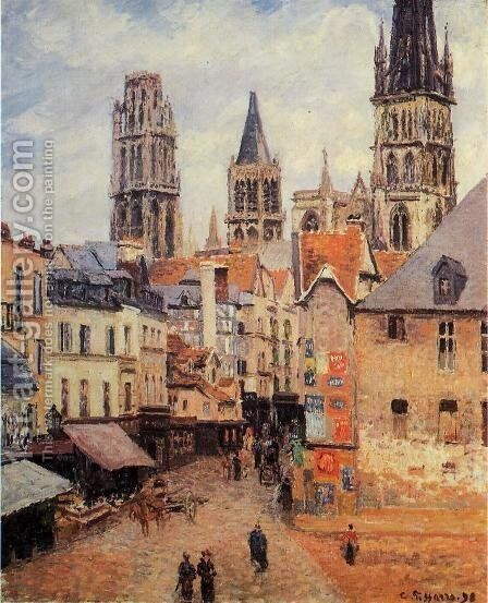 Rue de l'epicerie at Rouen, on a Grey Morning, 1898 by Camille Pissarro - Reproduction Oil Painting