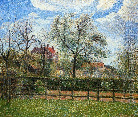 Pear Trees and Flowers at Eragny, Morning, 1886 by Camille Pissarro - Reproduction Oil Painting