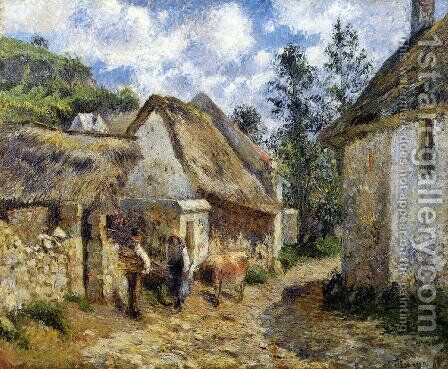 A Street in Auvers (Thatched Cottage and Cow) by Camille Pissarro - Reproduction Oil Painting