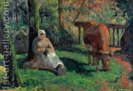 Shepherdess, Montfoucault, 1875 by Camille Pissarro - Reproduction Oil Painting