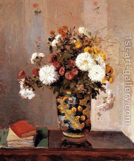 Bouquet of Flowers, Chrysanthemums in a Chinese Vase by Camille Pissarro - Reproduction Oil Painting