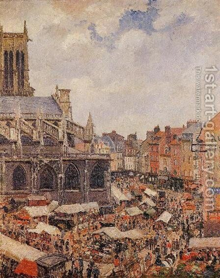 The Market Surrounding the Church of Saint-Jacques, Dieppe, 1901 by Camille Pissarro - Reproduction Oil Painting