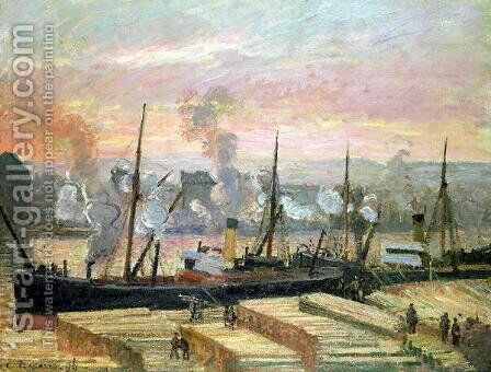 Sunset at Rouen, Boats Unloading Wood, 1896 by Camille Pissarro - Reproduction Oil Painting