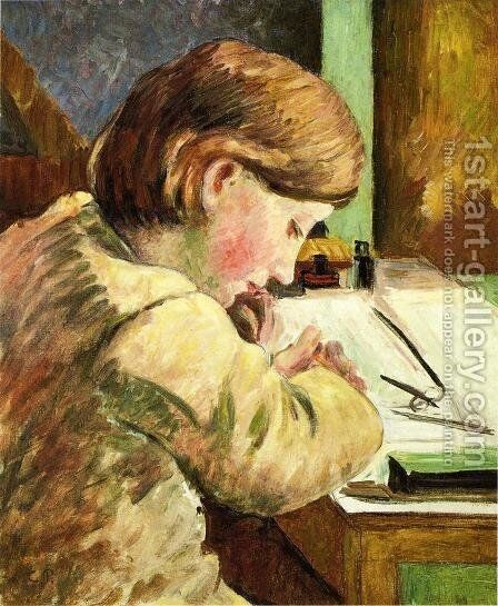 Paul Writing, c.1894 by Camille Pissarro - Reproduction Oil Painting