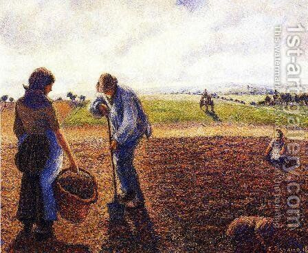 Peasants in the Field, Eragny, 1890 by Camille Pissarro - Reproduction Oil Painting